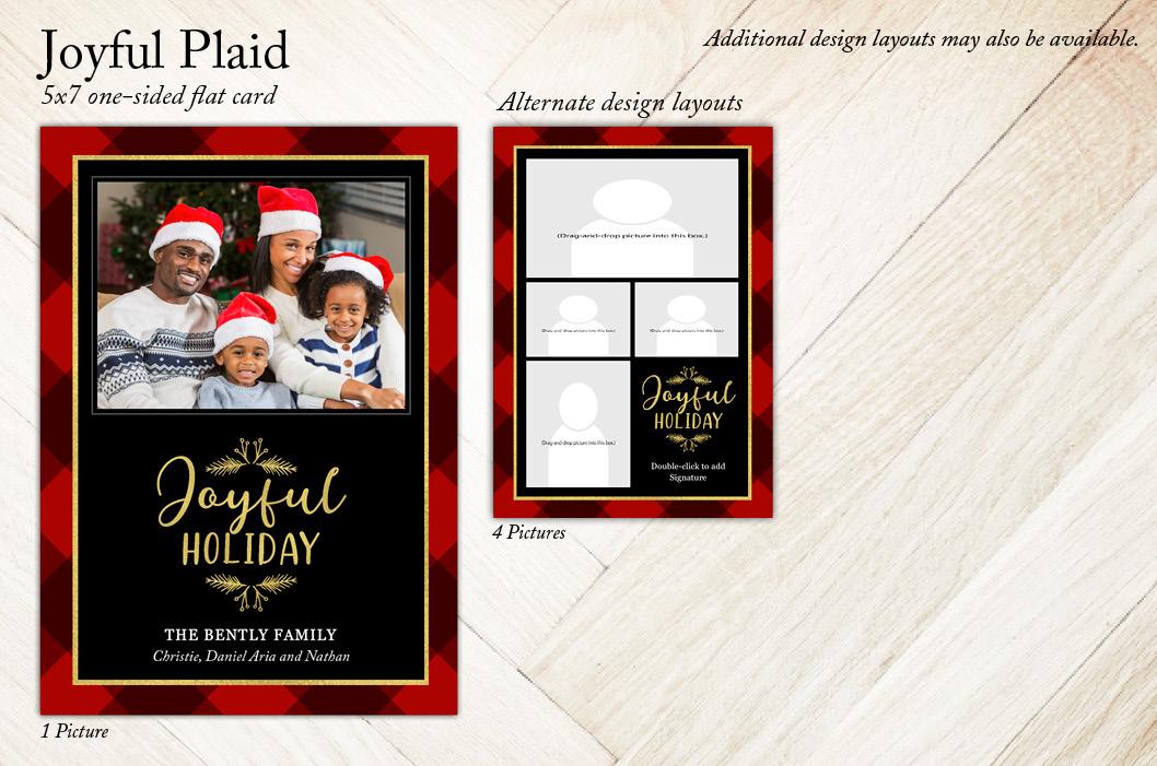 'Joyful Plaid' Holiday Christmas Card