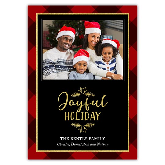 'Joyful Plaid' Holiday Christmas Card