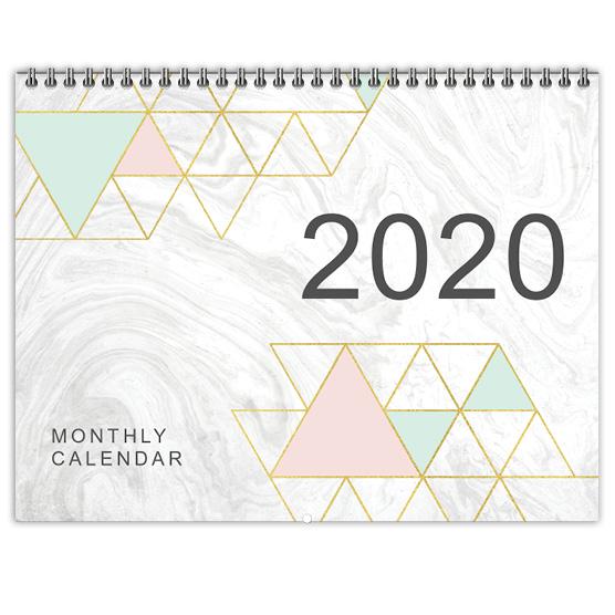 Focus in Pix White Marble Geo Flip Calendar