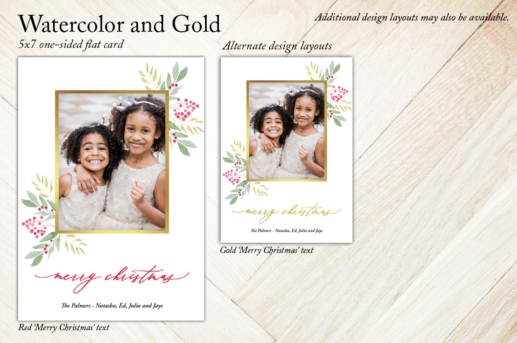 Watercolor and Gold - Holiday Christmas Card